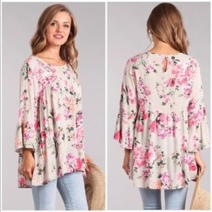 Pink Floral Bell Sleeve Hi Low Tunic Top NEW